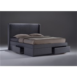 Armande King Bed with 4 Drawers - Grey