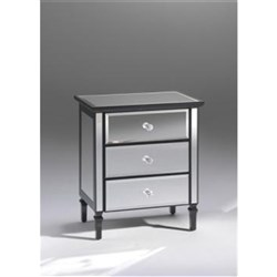 Gem 3 Drawer Bedside Table - Mirrored Black