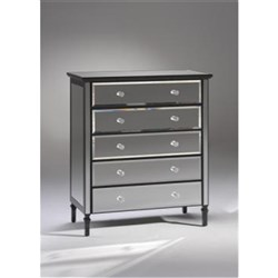 Gem 5 Drawer Tallboy - Mirrored Black