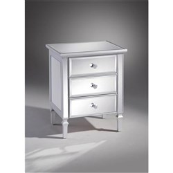 Gem 3 Drawer Bedside Table - Mirrored Silver