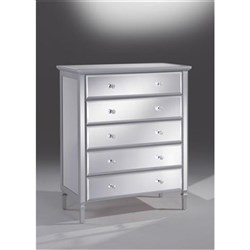 Gem 5 Drawer Tallboy - Mirrored Silver