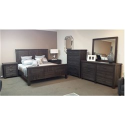 Hawkesbury - King Bed, 2 x 3 Drawer Bedside Tables, 6 Drawer Dresser & Mirror - Acacia/Coffee Bean