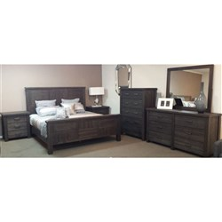 Hawkesbury - Queen Bed, 2 x 3 Drawer Bedside Tables, 6 Drawer Dresser & Mirror - Acacia/Coffee Bean