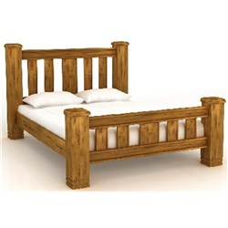 LANCASTER QUEEN BED PINE/LIGHT WALNUT LA01 (LTB003) (2450X1700X1200)