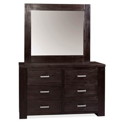 Rustic 6 Drawer Dresser & Mirror