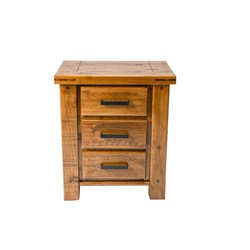 Woolstore 3 Drawer Bedside Table