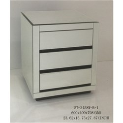 Zenn 3 Drawer Bedside Table - Mirrored Black and Clear