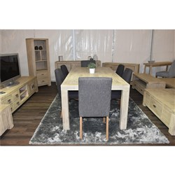 HUDSON 7PC DINING SUITE*1800 w HUDSON COLUMBIA STORM CHAIR (LEG: DISTRESSED GREY)