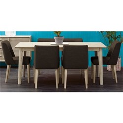 SEATTLE 7PC DINING SUITE*1800 (w KARA CHAIR PU BLACK)