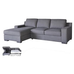 Shaw 3S w Storage Chaise and Sofa Bed - Licorice