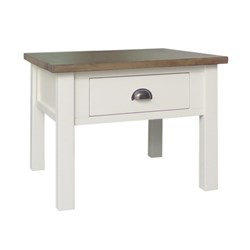Brighton - Lamp Table, 1 Drawer - Recycled Pine/Weathered Grey-Cotton White