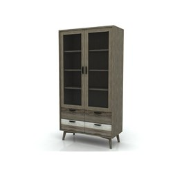 Havana - Double Vitrine, 2 Drawer, 4 Door - Acacia/Different Distress Light Brown