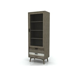 Havana - Single Vitrine, 1 Drawer, 2 Door - Acacia/Different Distress Light Brown