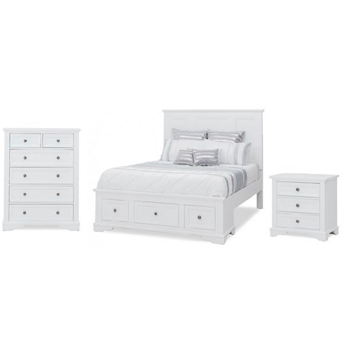 OSLO QUEEN TALLBOY SUITE HARDWOOD/WHITE (613) (BED w 2 DRAWERS)