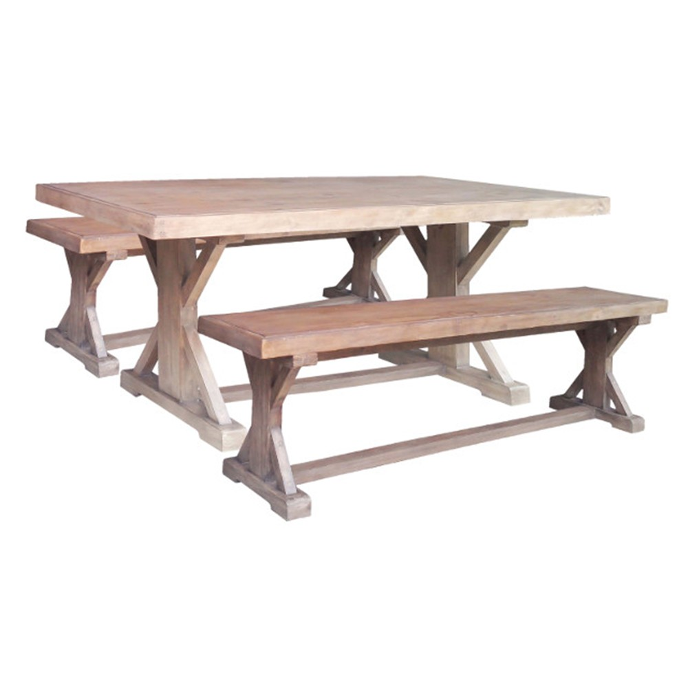 DRIFTWOOD DINING TABLE 1930 PINE WEATHERED GRAY CRD001